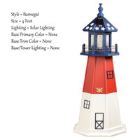 Amish Made Poly Outdoor Lighthouse - Patriotic - Shown As: Patriotic Barnegat, 3 Foot, Solar Lighting, Optional Base Primary Color None, Optional Base Trim Color None, No Base/Tower Interior Lighting