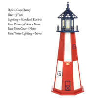 Amish Made Poly Outdoor Lighthouse - Patriotic - Shown As: Patriotic Cape Henry, 5 Foot, Standard Electric Lighting, Optional Base Primary Color None, Optional Base Trim Color None, No Base/Tower Interior Lighting