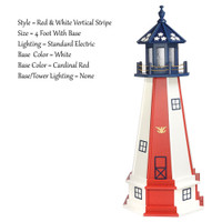 Amish Made Poly Outdoor Lighthouse - Patriotic - Shown As: Patriotic Red & White Vertical Stripe Tower With Blue Top, 4 Foot With Base, Standard Electric Lighting, Optional Base Primary Color Red, Optional Base Trim Color White, No Base/Tower Interior Lighting