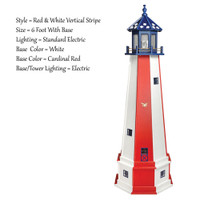 Amish Made Poly Outdoor Lighthouse - Patriotic - Shown As: Patriotic Red & White Vertical Stripe Tower With Blue Top, 4 Foot With Base, Standard Electric Lighting, Optional Base Primary Color Red, Optional Base Trim Color White, With Base/Tower Interior Lighting