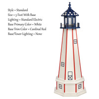 Amish Made Poly Outdoor Lighthouse - Patriotic - Shown As: Patriotic Standard Style, 5 Foot With Base, Standard Electric Lighting, Optional Base Primary Color White, Optional Base Trim Color Red, No Base/Tower Interior Lighting