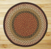 Earth Rugs™ round braided jute rug in pictured in: Burgundy/Mustard - C-19