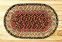 Earth Rugs™ oval braided jute rug in pictured in: Burgundy/Gray/Cream - C-57