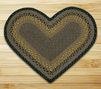 Earth Rugs™ heart braided jute rug in pictured in: Brown/Black/Charcoal - C-99