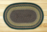 Earth Rugs™ oval braided jute rug in pictured in: Brown/Black/Charcoal - C-99
