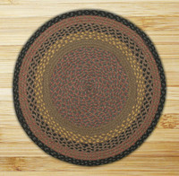 Earth Rugs™ round braided jute rug in pictured in: Brown/Black/Charcoal - C-99