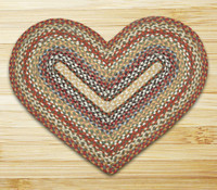 Earth Rugs™ heart braided jute rug in pictured in: Honey/Vanilla/Ginger - C-300