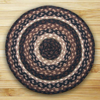 Earth Rugs™ round braided jute rug in pictured in: Mocha/Frappuccino - C-313