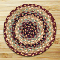 Earth Rugs™ round braided jute rug in pictured in: Burgundy/Gray/Cream - C-357