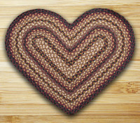 Earth Rugs™ heart braided jute rug in pictured in: Black Cherry, Chocolate, Cream - C-371