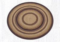 Earth Rugs™ round braided jute rug in pictured in: Black Cherry, Chocolate, Cream - C-371