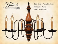 Katie's Handcrafted Lighting Anderson House Wood Chandelier Pictured In: Base Coat Color = Pumpkin Spice, Top Coat Color = None, Trim Color = None
