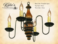 Katie's Handcrafted Lighting Abigail Wood Chandelier Pictured In: Base Coat Color = Pumpkin Spice, Top Coat Color = None, Trim Color = None