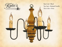 Katie's Handcrafted Lighting Abigail Wood Chandelier Pictured In: Base Coat Color = Black, Top Coat Color = Mustard Crackle, Trim Color = None