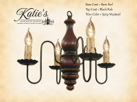 Katie's Handcrafted Lighting Abigail Wood Chandelier Pictured In: Base Coat Color = Barn Red, Top Coat Color = Black Rub, Trim Color = Spicy Mustard