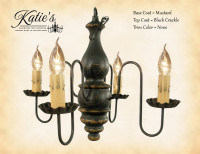 Katie's Handcrafted Lighting Abigail Wood Chandelier Pictured In: Base Coat Color = Mustard, Top Coat Color = Black Crackle, Trim Color = None