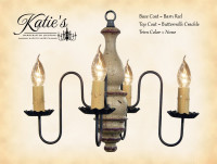 Katie's Handcrafted Lighting Abigail Wood Chandelier Pictured In: Base Coat Color = Barn Red, Top Coat Color = Buttermilk Crackle, Trim Color = None
