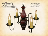 Katie's Handcrafted Lighting Abigail Wood Chandelier Pictured In: Base Coat Color = Barn Red, Top Coat Color = Black Rub, Trim Color = None