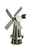 Amish Crafted Poly Windmill Medium Finished In Primary Color: Turf Green, Accent/Trim Color: Ivory