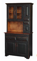 Amish Handcrafted Medium Hoosier Hutch by Vintage Creations By Sam - Finished In Antique 2-Tone Black With Heritage Stain