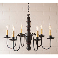 Irvin's Manassas Wooden Chandelier In Sturbridge Black With Red Trim