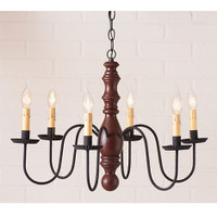 Irvin's Manassas Wooden Chandelier In Sturbridge Red