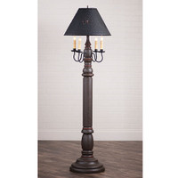 "Irvin's General James Floor Lamp In Americana Espresso With Salem Brick, Shown WIth Optional 17"" Flared Shade"