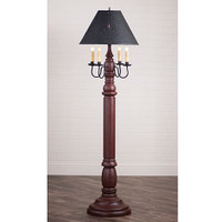 "Irvin's General James Floor Lamp In Americana Plantation Red, Shown WIth Optional 17"" Flared Shade"