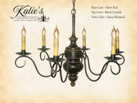 Katie's Handcrafted Lighting Queen Anne Wood Chandelier Pictured In: Base Coat Color = Barn Red, Top Coat Color = Black Crackle, Trim Color = Spicy Mustard