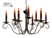 Katie's Handcrafted Lighting Washington 2-Tier Candle Chandelier Finished In Aged Black Finish