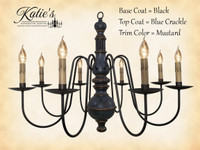 Katie's Handcrafted Lighting Hamilton Wood Chandelier Pictured In: Original Finish, Base Coat Color = Black, Top Coat Color = Blue Crackle, Trim Color = Mustard