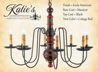 Katie's Handcrafted Lighting Hamilton Wood Chandelier Pictured In Early American Finish: Base Coat Color = Massicot, Top Coat Color = Black, Trim Color = Cottage Red