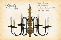 Katie's Handcrafted Lighting Hamilton Wood Chandelier Pictured In: Original Finish, Base Coat Color = Black, Top Coat Color = Mustard Crackle, Trim Color = None