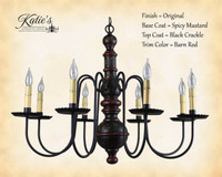 Katie's Handcrafted Lighting Hamilton Wood Chandelier Pictured In: Original Finish, Base Coat Color = Spicy Mustard, Top Coat Color = Black Crackle, Trim Color = Barn Red