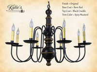Katie's Handcrafted Lighting Hamilton Wood Chandelier Pictured In: Original Finish, Base Coat Color = Barn Red, Top Coat Color = Black Crackle, Trim Color = Spicy Mustard