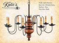 Katie's Handcrafted Lighting Chesapeake Wood Chandelier Pictured In Early American Finish: Base Coat Color = Michael's Cherry, Top Coat Color = None, Trim Color = Black