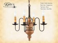 Katie's Handcrafted Lighting Chesapeake Wood Chandelier Pictured In Early American Finish: Base Coat Color = Cappuccino, Top Coat Color = None, Trim Color = Tate Olive