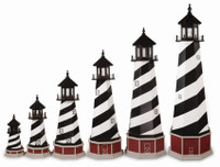 Amish Made Wooden Garden Lighthouse - Cape Hatteras - Shown As: 2'-8' Foot With Optional Base, Standard Electrical Lighting, Roof & Tower Primary Color Black, Tower Accent/Trim Color White. Optional Base Primary Color Cherrywood, Optional Base Trim Color Light Gray, No Base/Tower Interior Lighting