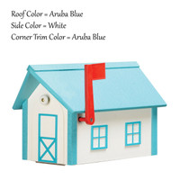 Amish Handcrafted Poly Mailbox finished in Aruba Blue & White