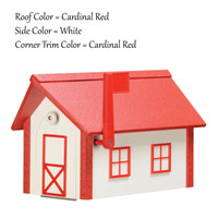 Amish Handcrafted Poly Mailbox finished in Cardinal Red & White