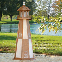 Amish Made Poly Outdoor Lighthouse - Cape Henry - Shown As: 5 Foot, Standard Electric Lighting, Roof/Top & Tower Primary Color: Mahogany, Tower Accent Color: Birchwood, Optional Base Primary Color: None, Optional Base Trim Color: None, No Base/Tower Interior Lighting