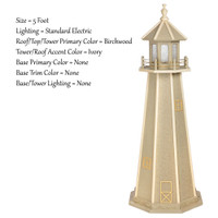 Amish Made Poly Outdoor Lighthouse - Standard - Shown As: 5 Foot, Standard Electric Lighting, Roof/Top & Tower Primary Color: Birchwood, Tower Accent Color: Ivory, Optional Base Primary Color: None, Optional Base Trim Color: None, No Base/Tower Interior Lighting