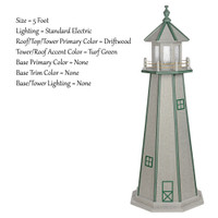 Amish Made Poly Outdoor Lighthouse - Standard - Shown As: 5 Foot, Standard Electric Lighting, Roof/Top & Tower Primary Color: Driftwood, Tower Accent Color: Turf Green, Optional Base Primary Color: None, Optional Base Trim Color: None, No Base/Tower Interior Lighting