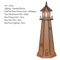Amish Made Poly Outdoor Lighthouse - Standard - Shown As: 5 Foot, Standard Electric Lighting, Roof/Top & Tower Primary Color: Mahogany, Tower Accent Color: Black, Optional Base Primary Color: None, Optional Base Trim Color: None, No Base/Tower Interior Lighting