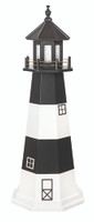 Amish Made Wood-Poly Hybrid Lighthouse - Fire Island - Shown As: 5 Foot, Standard Electric Lighting, Poly Roof/Top Color: Black, Wood Tower Primary Color: White, Wood Tower Accent Color: Black, Poly Base Primary Color: None, Poly Base Trim Color: None, No Base/Tower Interior Lighting