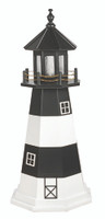 Amish Made Wood-Poly Hybrid Lighthouse - Fire Island - Shown As: 4 Foot, Standard Electric Lighting, Poly Roof/Top Color: Black, Wood Tower Primary Color: White, Wood Tower Accent Color: Black, Poly Base Primary Color: None, Poly Base Trim Color: None, No Base/Tower Interior Lighting
