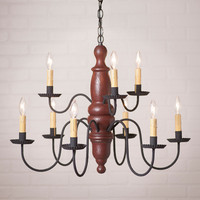 Irvin's Fairfield Wooden Chandelier In Americana Plantation Red