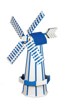 Amish Crafted Poly Windmill, Finished In Primary Color: White, Accent/Trim Color: Bright Blue