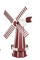 Amish Crafted Poly Windmill, Finished In Primary Color: Cherrywood, Accent/Trim Color: White