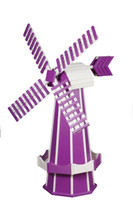 Amish Crafted Poly Windmill, Finished In Primary Color: Purple, Accent/Trim Color: White